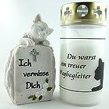 Kleiner Grabschmuck Katzengrab Gedenkstein mit Grabkerze 2er Set. - 2