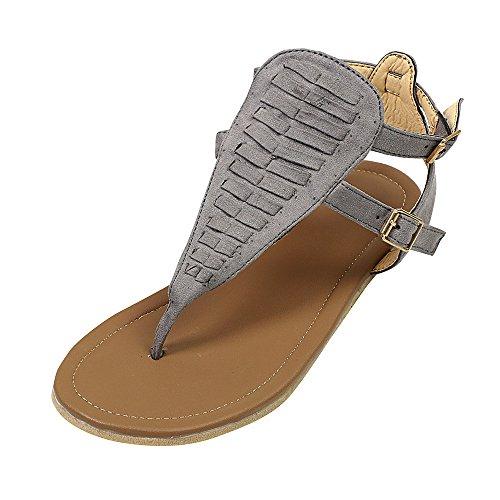 MOIKA Damen Boho Flach Sandalen Sandaletten T-Riemen Strand Badeschlappen  Damenschuhe(EU34,Grau 5c2283c40f