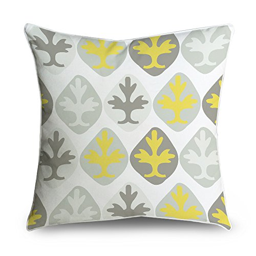 fabricmcc Grigio e Bianco damascato stile quadrato accento decorativo Throw Pillow Cover cuscino 18 X 18