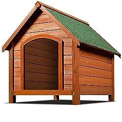 XXL Hundehütte Hundehaus Hund Echtholz Holz Massiv Wetterfest Dachluke Spitzdach 82cm x 72cm x 85cm