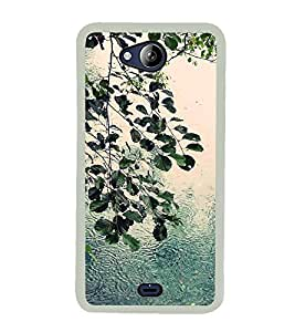 PrintVisa Rainy Weather Leafs High Glossy Metal Designer Back Case Cover for Micromax Canvas Play Q355
