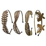 #7: TRINITY 4pcs Assorted Paris Collection Hairband In Gold For Girls