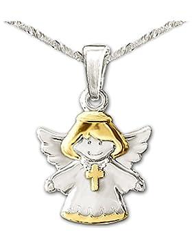 CLEVER SCHMUCK-SET Silberner Anhänger Kinderengel bicolor mit Kreuz glänzend teilvergoldet mit Kette Singapur...
