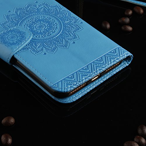 iPhone 7 Plus Hülle,Apple iphone Hülle Lederhülle,Cozy Hut Schutzhülle / Cover / Handyhülle / Etui für Apple iPhone 7 Plus (5,5 Zoll) Panda National treasure Muster Design Folio PU Leder Tasche Case H blau
