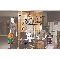 MIMOO Diseño Divertido Etiquetas engomadas de la Ventana de Halloween decoración calcomanía Feliz Halloween Arte Etiqueta Bar Fiesta de Vidrio Pegatinas estáticas ( Color : 16004 )