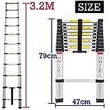 Bowose 3.2M Telescopic Multi Purpose Ladder Portable Aluminium 10.5 Ft Light Weight Extendable Attic Ladder Max 150KG Load for Outdoor Indoor Home Loft Office, UK Stock Bild 1