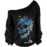 Frauen-Damen Anker weg von der Schulter Maxi-Slouchy Sweatshirt Pullover Tops Blusen (Skull), Farbe schwarz, Size M