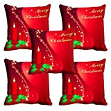meSleep Red Merry Christmas Cushion Cover - Set of 5