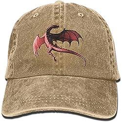 asfafaaf Sombrero Divertido Gorra de béisbol Hombres y Mujeres Dragón Rojo Ajustable Vintage Algodón Vaquero Lavado Sombrero de papá Sombrero de béisbol Natural
