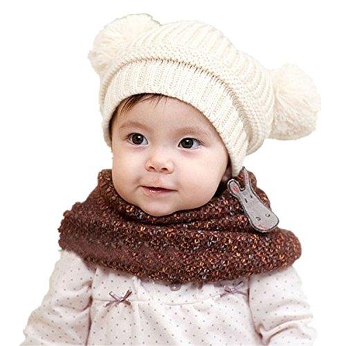 ZARU Bebé lindo de los niños de la muchacha del muchacho de doble Pompon bolas de calentamiento gorras de punto de Invierno (Blanco)