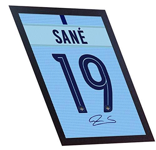SGH SERVICES NEU! Leroy Sane Man City Football Autogramm auf Leinwand, gerahmt, 100% Baumwolle