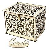 Fafalloagrron - Cassetta postale in legno con serratura, collezione di scatole regalo per matrimoni, ricevimenti, compleanni, lauree, baby shower