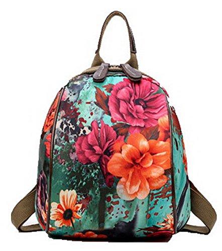 Allhqfashion donna moda viaggio fiori zaini daypack escursionismo daypacks, fbuibd181089,verde