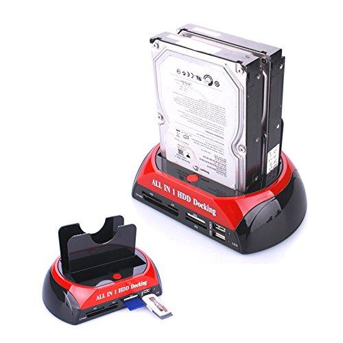 AIGUOZER® externe Festplatten-Dockingstation Festplattengehäuse 2.5 oder 3.5 Zoll Dual USB HDD Docking Station Kartenleser Kartenlesegerät Clone Hard Drive Card Reader USB2.0