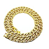 LUOEM 75 cm Herren Panzerkette Gold Überzogene Kristall Strass Kette breit Hip-Hop Halskette Halsschmuck