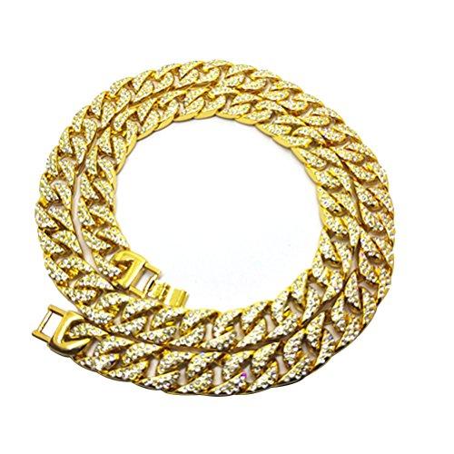 LUOEM 75 cm Herren Panzerkette Gold Überzogene Kristall Strass Kette breit Hip-Hop Halskette Halsschmuck - Juego über
