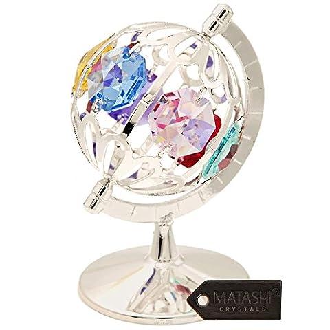 Spinning Globe en plaqué argent avec cristaux multicolores par matashi®