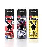 Playboy VIP+London+Newyork Deo Combo Set Pack of 3 Mens