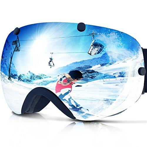 Zionor lagopus xa professionale snowmobile snowboard skate occhiali da sci e super wide angle lente anti nebbia big sferica unisex adulto multicolor maschere da sci (polarized argento)