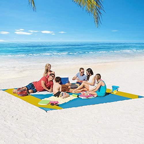 4UMOR wasserdichte Nylon Stranddecke 210x200 Ultral Picknickdecke Tragbare Campingdecke mit Zeltstöpsel sandabweisende Strandtuch für Camping, Garten, BBQ, Wandern, Reisen groß genug für 6-8 Personen