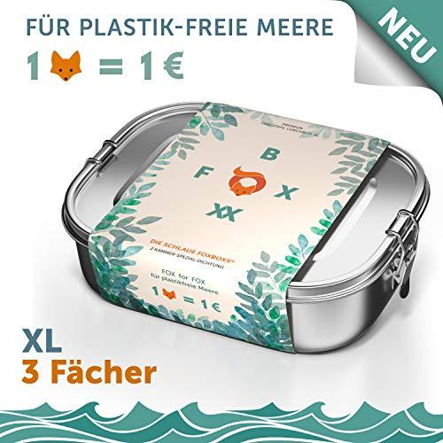 FOXBOXX® XL | Premium Edelstahl Brotdose mit 3 Fächern | 1400ml Lunchbox | nachhaltige Brotbox mit 2 x Trennwand | Kinder - Schule | Jausenbox | Vesperdose | Brotzeitbox ohne Plastik auslaufsicher