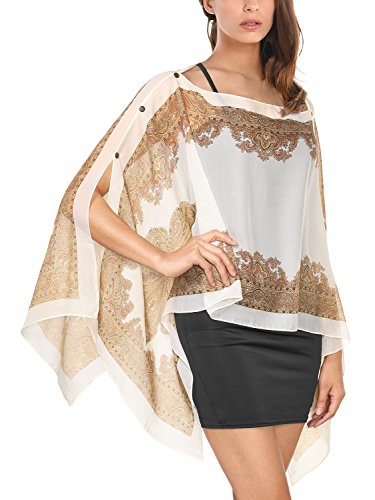 DJT T-Shirt Imprime Floral Tops A la mode Foulard Cover up Abricot