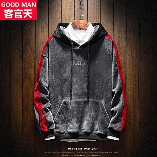 Xing Lin Pullover Con Cappuccio Pullover Uomo Felpa Con Cappuccio Da Indossare Bagnato Sau La Molla Nuova Moda Casual Uomo Gray (Red Sleeve)