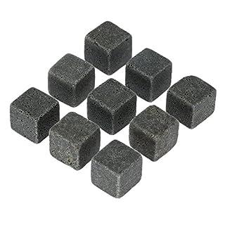 Anself 9er Set Whisky-Steine Kühlsteine aus Natürlichem Speckstein für Getränke mit Stoffbeutel