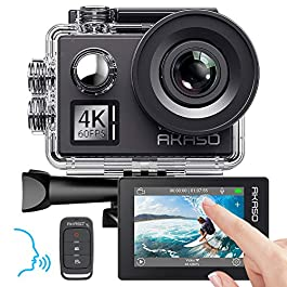 AKASO Action Cam Native 4K/60fps 20MP WiFi,Touch Screen,Comandi Vocali,EIS 40m Impermeabile, 8 Volte Zoom, Angolo…