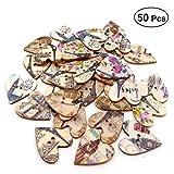 Healifty Bottoni in legno a forma di cuore per cucire e fai da te pulsanti dipinti a mano 50 pezzi (colore casuale)