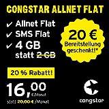 congstar Allnet Flat, Sim, Micro-Sim und Nano-Sim, monatlich Kündbar (16,00 Euro/Monat, 4 GB Datenflat mit Max. 25 Mbit/s, Allnet Flat und SMS Flat) in Bester D-Netz-Qualität