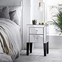Beautify Mirrored Bedroom Furniture - Mirrored Dressing Table With 1 Drawer - 2 Drawer Bedside Table With Mirror Finish