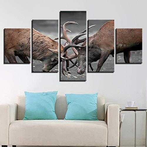 Vandelkt Leinwandbilder Für Wohnzimmer Wohnkultur 5 Stücke Tiere Geweih Hirsche Dollar Poster Wandkunst Frame M