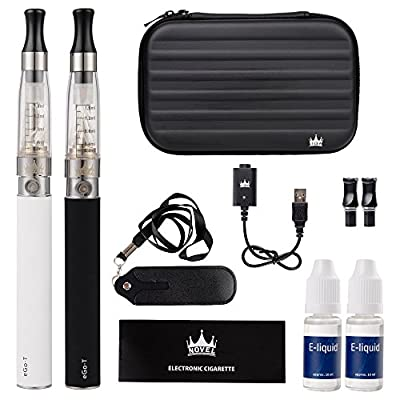 NOVEL™ Double Ego CE4 E Cig Electronic Cigarette vape Big Luxury Starter kit with Zipper Case for Eshisha Flavor|Ego T Black&White 1100mah Battery+CE4 Atomizer+e liquid[No nicotine] from novel