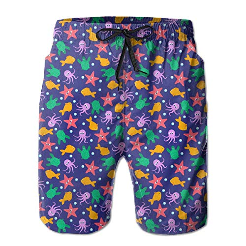 Fish,Octopus,Turtle Pattern Mens Beach Shorts Casual Classic Swim Trunks,Shorts Size M