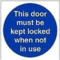vsafety Gebotszeichen, diese Tür müssen Gesperrt, wenn nicht in Verwendung, selbstklebend, quadratisch