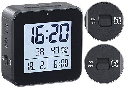 infactory Wecker: Funkwecker mit 2 Weckzeiten, Hygro-/Thermometer & Lichtsensor, Schwarz (Wecker mit Mehreren Weckzeiten)