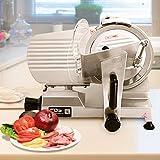 COSTWAY Aufschnittmaschine Allesschneider Elektrisch Fleischschneider Schrägschneider Schnittstärke 0 bis 12mm / 150W / Ø25cm / 10 Zoll/Edelstahl