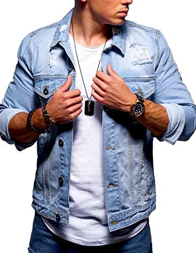 behype. Herren Jeans-Jacke Stretch Destroyed Übergangs-Jacke 55-0109 Hellblau XL -