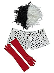 Officially Licensed Disney Villains Cruella De Vil fancy dress Ladies Size 16-18 Costume with Stole, Wig and Gloves, Made under licence from Disney Villains