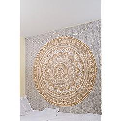 RawyalCrafts Original oro Ombre tapiz hippie bohemio intrincados gitano indio pensamiento mágico tapiz colgante de pared, Boho colcha