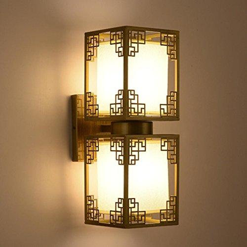 HY-FHLJ Stile cinese (oro placcato oro + antico Glaze + Matte Black Iron + Lino Ombra) Retro comodino da letto della lampada da parete , bronze , double head