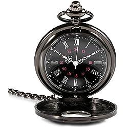 ULTNICE Mechanical Pocket Watch Pendant Roman Numerals Quartz Watch (Black)
