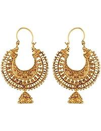 I Jewels Gold Plated Chandbali Jhumki Earring For Women (E2631FL)