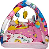 CHOTE USTAD Baby Bedding Set With Mosquito Net And Play Gym With Hanging Toys (Pink)