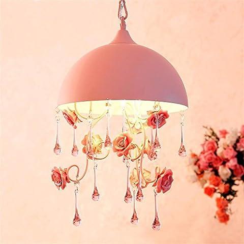 FANDBO Koreanische Prinzessin pastoralen Stil Kronleuchter Schlafzimmer Einkopf- Halbschatten Kronleuchter Lampe Blumen