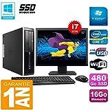 HP PC Compaq Pro 6300 SFF I7-3770 16Go 480Go SSD Graveur DVD WiFi W7 Ecran 17'