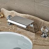 Retro Deluxe Fauceting Groß- und Einzelhandel Moderne 3-tlg Messing verchromt Wasserfall Bad Waschbecken Wasserhahn Glaskugeln Dual Griffe Waschbecken Mischbatterie