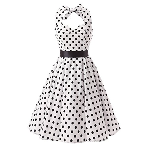 fiftieschic Damen Polka Dot Neckholder 50s Vintage Rockabilly Party Kleider White + Black Dots