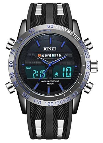 orologio militare uomo BINZI, sportivo watch impermeabile Orologio da polso uomo digitale di lusso LED a doppia visualizzazione cronometro settimana di allarme con nastro in silicone nero